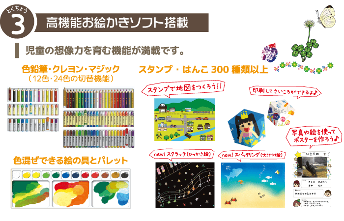 特徴3、高機能お絵かきソフト:児童の想像力を育む機能が満載です。色鉛筆・クレヨン・マジック・絵の具・スタンプ・スクラッチ・スパッタリング・サイコロ印刷・カレンダー印刷ほか
